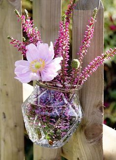 Heidekraut mit Anemonenblüte in einer Vase.