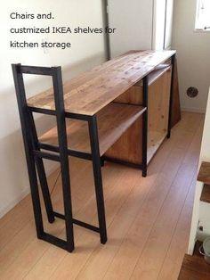 イケアの棚をカスタマイズ!キッチンの背面収納作りました。 : Chairs and.ナチュラルなインテリアと雑貨と手作りと、日々のこと。 Ikea Shelves, Kitchen Shelves, Kitchen Storage, Ceramic Studio, Kitchen Furniture, Diy And Crafts, Sweet Home, New Homes, Flooring