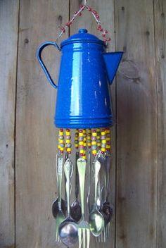 Blue Enameled Coffee Pot Windchime Repurposed by malindadickens, $48.00