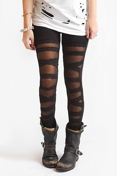 [BleuDame Nylon Criss-Cross Mesh & Lace Leggings] Love the look with the boots!