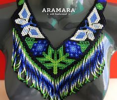 Mexican Huichol Beaded Butterfly Necklace and Earrings by Aramara Native American Earrings, Native American Beading, Butterfly Necklace, Flower Necklace, Mexican Jewelry, Animal Jewelry, Bead Art, Wire Wrapped Jewelry, Beaded Earrings