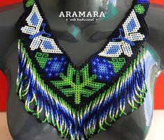 Collar mexicana Huichol mariposa collar y pendientes por Aramara