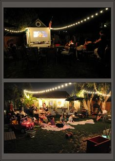 Backyard movie night! String lights from the ends of the screen, looks like aisles