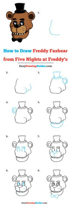Learn to draw Freddy Fazbear from FNaF. This step-by-step tutorial makes it easy. Kids and beginners alike can now draw a great looking Freddy Fazbear. Fnaf Freddy, Freddy Fazbear, Drawing Prompt, Drawing Lessons, Fnaf Drawings, Easy Drawings, Fnaf Wallpapers, Fnaf Characters, Online Drawing