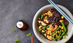 Black Noodles with prawns and chipotle - Thomasina Miers