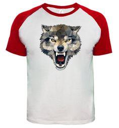 Camiseta Wolf Techy Art Chico, estilo béisbol, blanca y roja  17,90 €