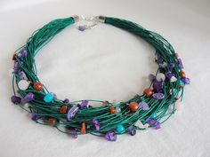 Emerald linen necklace:amethyst, desert sand from Jewelry&Hand Made by DaWanda.com