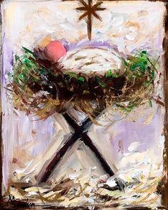 """Daily Paintworks - """"Emanuel"""" - Original Fine Art for Sale - © Melissa Gresham Christmas Manger, Family Christmas Ornaments, Christmas Canvas, Diy Christmas Cards, Christmas Paintings, Christmas Art, Christmas Projects, Christmas Holidays, Christmas Decorations"""