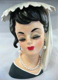 Rare Black Haired Lady Head Vase Feathered Hat.