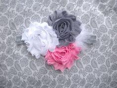 Gray pink and white shabby headband on gray elastic by sugarandglitter, $9.00