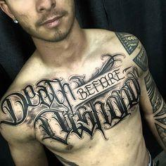 Death Before Dishonor chest piece by @mystiktattoos in Brisbane Australia #mystiktattoos #brisbane #australia #deathbeforedishonor #deathbeforedishonortattoo #chestpiece #scripttattoo #typography #tattoo #tattoos #tattoosnob