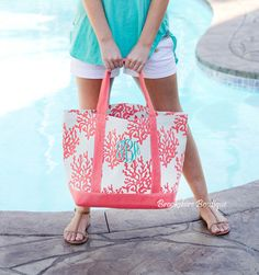 22dd91764e Personalized Coastal Canvas Beach or Market Tote  Mint or Coral – Brookshire  Boutique