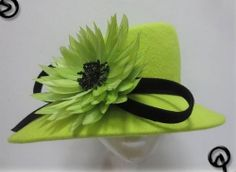 Ladies Lime Green/Black Wide Brim Hat,Races,Formals,Weddings,Dressage,Hat Making