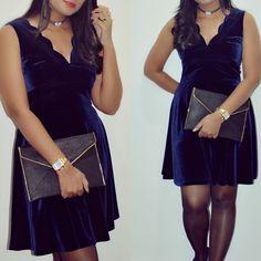 Velvet dress .. choker ... fashion .. night out