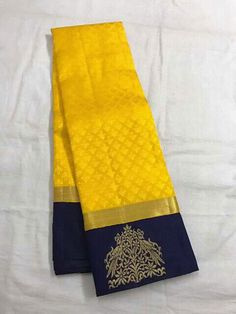My favourite y e l l o w . Kanchipuram Saree, Handloom Saree, Pure Silk Sarees, Cotton Saree, Pink Saree, Yellow Saree Silk, Saree Color Combinations, Saree Jewellery, Indian Costumes