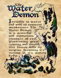 """""""The Water Demon"""" - Charmed - Book of Shadows by Chikako Raku Witch Spell Book, Witchcraft Spell Books, Magick Spells, Charmed Spells, Charmed Book Of Shadows, Charmed Tv Show, Halloween Books, Mythological Creatures, Fantasy"""