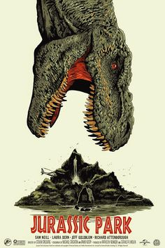 "Jurassic Park - Francesco Francavilla ---- art from Mondo's ""When Dinosaurs Ruled the Earth,"" a dino-sized gallery show of artworks and screen prints celebrating the Jurassic iconography. (2015-06)"