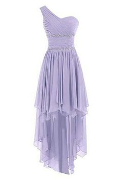 Lavender high low silky prom dress