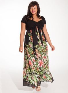 Christina Maxi Dress in Black Floral...I like this because there is at least a little sleeve. I need sleeves, people!