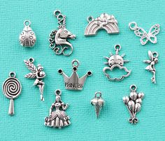 Girly Fun Charm Collection Antique Silver Tone 12 Different Charms - COL309