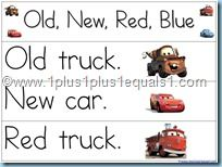 Old, new, red, blue pocket chart printables