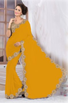 Beautiful Yellow Georgette Saree EBSFS16510.