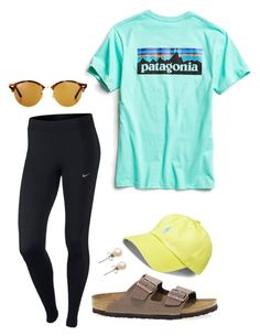 """""""#37"""" by lily141 on Polyvore featuring Patagonia, NIKE, Birkenstock, Ray-Ban, J.Crew and Polo Ralph Lauren Cute Lazy Outfits, Cute Outfits For School, Outfits For Teens, Summer Outfits, Casual Sporty Outfits, School Appropriate Outfits, Girly Outfits, Simple Outfits, Stylish Outfits"""