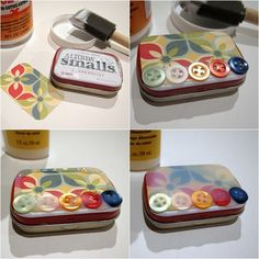 How to decoupage a tiny tin. - Mod Podge Rocks I have been saving the tins for years...to make these, and love the idea! Joni