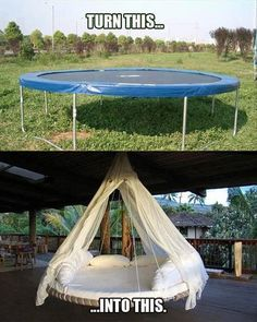 Turn a trampoline into a hanging outdoor bed as a new take on the hammock idea for relaxing. Turn a trampoline into a hanging outdoor bed as a new take… Trampolines, Outdoor Projects, Home Projects, Craft Projects, Diy Furniture, Outdoor Furniture, Outdoor Decor, Furniture Design, Backyard Furniture