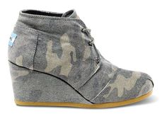 blend in with style //  TOMS Washed Camo Canvas Classic Desert Wedge
