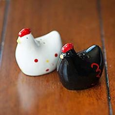 Black and White Hen Salt & Pepper Shakers from My Pet Chicken