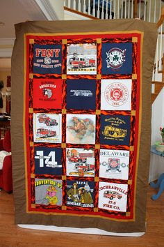 I made 2 quilts in 2 weeks. This is the first and it is a t-shirt memory quilt from my FIL's old t's. He is a volunteer firefighter and I used his old fireman t-shirts. Firefighter Family, Firefighter Paramedic, Firefighter Decor, Volunteer Firefighter, Firefighter Shirts, Firefighter Quotes, Fireman Quilt, Fireman Room, T-shirt Quilts