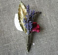 Winter or Holiday Wedding Dried Lavender, Gilded Bay, White Velvet Leaf and Magenta Celosia wrapped with a Moss Gilded French Wired Ribbon
