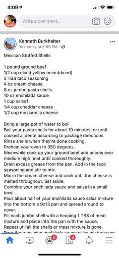 Jumbo Pasta Shells, Stuffed Pasta Shells, Mexican Stuffed Shells, Creole Cooking, Taco Seasoning, Enchiladas, Cheddar Cheese, Mozzarella, Writing