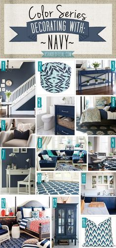 Color Series, Decorating with Navy. Navy home decor. Living Room Decor Navy Blue, Navy Bedroom Decor, Navy Blue Bedrooms, Living Room Decor Colors, Navy Blue Decor, Teal Home Decor, Diy Home Decor, Blue Rooms, Room Colors