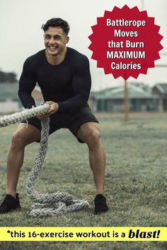 This battle rope workout has 16 calorie-burning exercises to strengthen the major muscle groups of your body. It's also a lot of fun. Video included. #battlerope #exercises #ideas #fitness #over50 #healthier #overfiftyandfit Major Muscles, Core Muscles, Back Muscles, Buddy Workouts, Fun Workouts, At Home Workouts, Abs And Cardio Workout, Workout List, Battle Rope Workout