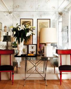 black and white and red all over room by dorothy draper