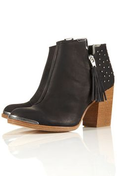 PSYCHIC3 Black Leather Studded Tassel Heeled Ankle Boots