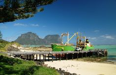 "Island Trader Lord Howe Island Wharf----The vessel is sometimes referred to as ""The Yamba Trader"" although it also trades out of Port Macquarie and can often be seen berthed at the shipyards dock near the bridge over the Hastigs River when driving up the Pacific Highway."