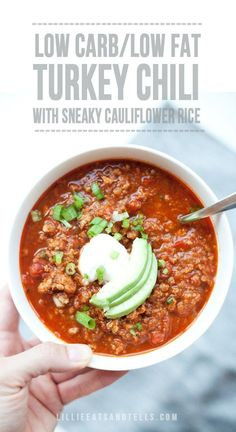 Low Carb Turkey Cauliflower Chili - Lillie Eats and Tells Healthy Meals For Two, Healthy Eating, Healthy Recipes, Healthy Cooking, Healthy Foods, Easy Recipes, Clean Eating, Turkey Recipes, Soup Recipes
