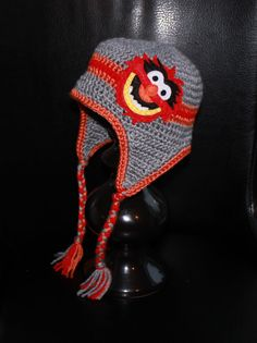 Project!!!!! Muppets Animal Earflap Beanie Hat  Grey Red and by TrendyMunchkins, $28.00