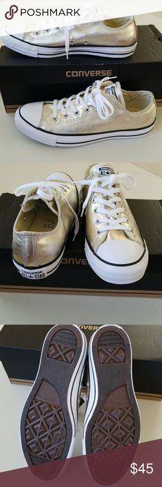 NWT Converse New Converse. Unisex. Light gold color for the Super Star that you are!  Men=8 Women=10 Men=9  Women=11 Men=10 Women=12 Converse  Shoes Sneakers