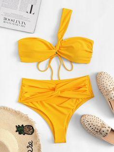 Shop One Shoulder Top With Twist Tie High Waist Bikini online. SHEIN offers One Shoulder Top With Twist Tie High Waist Bikini & more to fit your fashionable needs. One Piece Swimwear, Bikini Swimwear, One Piece Swimsuit, Swimsuits, Si Swimsuit, Romwe, High Cut Bikini, Trendy Swimwear, One Shoulder Tops
