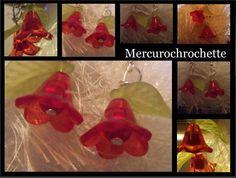 boucles d oreilles fleurs rouges