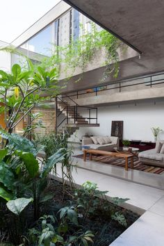 MINTY WARES | Modern residential interior with massed concrete and clean lines. The living space merges with an outdoor atrium style garden space creating a secluded and private oasis. © Fran Parente