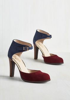 Hopeful Heel in Colorblock by Seychelles - Red, Solid, Work, Colorblocking, Minimal, Best, High, Leather, Suede, Blue, Variation