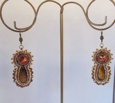 Bead embroidery earring OOAK Seed bead jewelry Swarovski by Vicus, $30.00