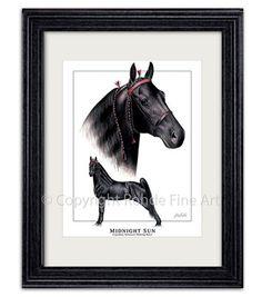 Midnight Sun Famous Tennessee Walker Walking Horse Framed Art Signed Painting | eBay