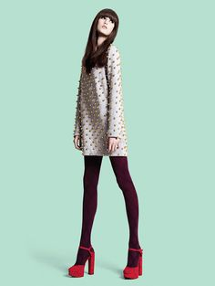 oxblood with red?? sure ! check out this oxblood tights and red heels with a neutral embellished dress