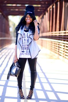 Oh to Be a Muse | Bay Area Fashion Blogger Inspiring Style: Lookbook: Reaper Crew | Sons of Anarchy Reaper Crew beanie | Temporary eye tattoo | Guess shirt from TJ Maxx | Boohoo Nadia trim waterfall quilted jacket | Forever 21 panel leggings | Chinese Laundry Jackpot bootie |